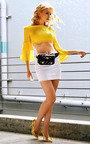 Phoebe Bardot Long Sleeved Frill Crop Top Thumbnail