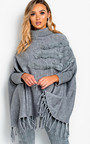 Phoebe Faux Fur Detailed Poncho Thumbnail