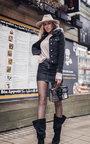 Pia Faux Fur Collared Denim Jacket Thumbnail