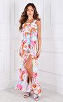 Pixie Thigh Split Ruffle Hem Printed Maxi Dress Thumbnail