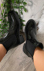 Pollie Faux Leather Croc Print Ankle Boots Thumbnail