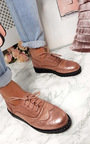 Polly Faux Suede Wedged Brogue Trainer  Thumbnail