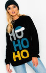 Prancer Slogan Christmas Jumper Black Thumbnail