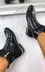 Rachel Croc Print Padlock Ankle Boots Thumbnail