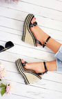 Raina Flower Detail Strap Roped Wedges Thumbnail