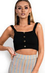 Razz Knitted Button Up Crop Top Thumbnail