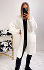 Rebecca Longline Knitted Cardigan with Balloon Sleeves Thumbnail