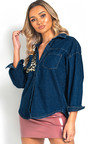 Rebekah Animal Print Denim Shirt Thumbnail