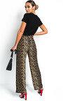 Ren Wide Leg Leopard Print Trousers  Thumbnail
