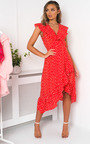 Rhona Polka Dot Wrap Midi Dress Thumbnail