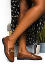 Riley Faux Leather Chain Brogue Flats Thumbnail