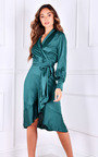 River Long Sleeve Wrap Midi Dress Thumbnail