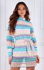 Roma Crochet Printed High Neck Tie Waist Mini Dress Thumbnail