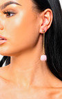Ronnie Drop Pom Earrings in Pink Thumbnail