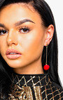 Ronnie Drop Pom Earrings in Red Thumbnail