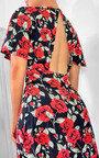 Rose Printed Midi Dress Thumbnail