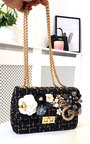 Rosie Flower Embellished Tweed Shoulder Bag Thumbnail