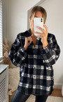 Roxana Checked Button Up Oversized Shirt Thumbnail