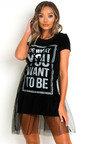 Roxanne Slogan Tulle T-Shirt Dress Thumbnail