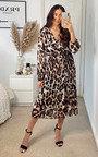 Ruby Pleated Leopard Print Maxi Dress Thumbnail