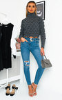 Sally Distressed Western Buckle Jeans Thumbnail