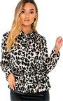 Sandi Tie Neck Frill Hem Print Blouse Shirt Thumbnail