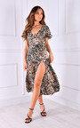 Sandy Tie Waist Thigh Split Printed Midi Dress Thumbnail