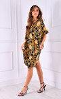 Sara Printed Oversized V Neck Midi Dress Thumbnail