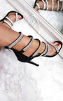 Sara Strappy Diamante High Heels  Thumbnail