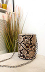 Sasha Mini Cylinder Croc Print Clutch Bag Thumbnail