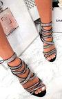 Scarlett Lace Up Diamante Peep Toe Heels  Thumbnail