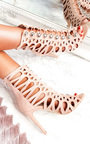 Selena Caged Faux Suede Heels  Thumbnail