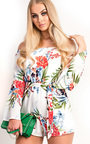 Selene Floral Off Shoulder Tie Playsuit  Thumbnail
