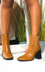 Serena Faux Leather Heeled Boots  Thumbnail