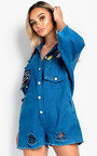 Shania Oversized Denim Playsuit  Thumbnail