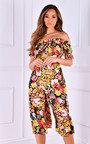 Shannon Off Shoulder Floral Ruffle Culotte Jumpsuit Thumbnail