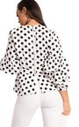 Shelly Peplum Ruffle Polka Dot Top Thumbnail