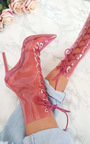 Sigrid Perspex Lace Up Heeled Boots Thumbnail