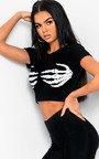 Skeleton Hands Fancy Dress Crop Top Thumbnail