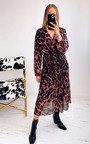 Skye Leopard Print Pleated Maxi Dress Thumbnail