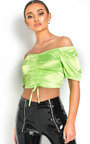 Sofiana Ruched Satin Crop Top Thumbnail