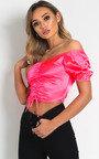 Sofiana Ruched Satin Crop Top Thumbnail