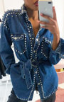 Soph Studded Embellished Denim Jacket Thumbnail