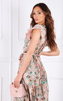 Sorelle Tiered Ruffle Sleeve Printed Maxi Dress Thumbnail