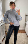 Stassy High Neck Oversized Sleeve Knitted Jumper Thumbnail