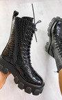 Steffi Mega Chunky Lace Up Croc Print Boots Thumbnail