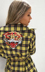 Stella Checked Tiger Embroidered Shirt Thumbnail