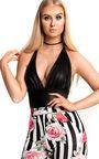 Sylvia Faux Leather Halterneck Low Cut Bodysuit  Thumbnail