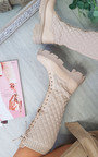 Tabitha Lace Up Quilted Knee High Boots Thumbnail