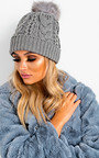 Tammy Faux Fur Lined Pom Pom Hat Thumbnail
